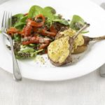 Hummus-crusted lamb with lentil salad