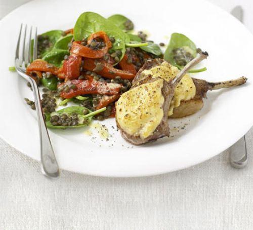 Hummus-crusted lamb with lentil salad Recipe