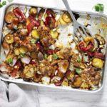 Chicken, red pepper & almond traybake