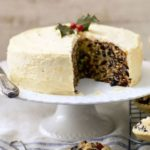 Fruitcake with apricot butter icing