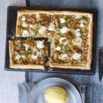 Leek, goat's cheese, walnut & lemon tart