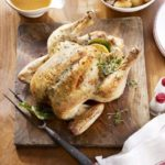 Lemon & thyme butter-basted roast chicken & gravy