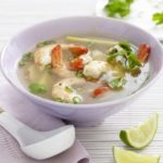 Tom yum (hot & sour) soup with prawns