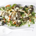 Turkey patty & roasted root salad with Parmesan dressing