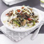 Spicy beef, shiitake & aubergine stir-fry