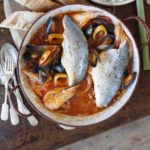 Sea bass & seafood Italian one-pot