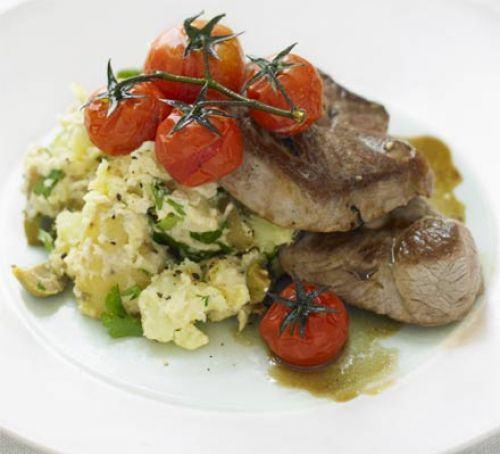 Lamb steaks with hummus new potatoes Recipe
