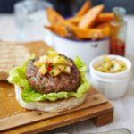 Skinny Thai burgers with sweet potato chips & pineapple salsa recipe
