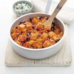 Squash, lentil & bean one-pot with fig raita
