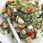 Aubergine couscous salad