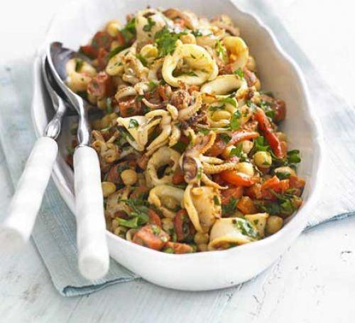 Squid, chickpea & chorizo salad Recipe