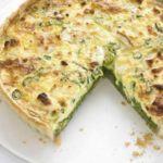 Pea, mint & goat's cheese quiche