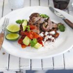 Mexican steak with homemade refried beans