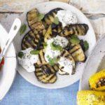 Griddled aubergines with sesame dressing