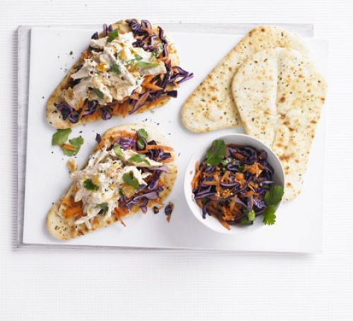 Coronation chicken naans with Indian slaw Recipe
