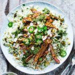 Coconut lamb & pistachio rice salad