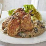 Roast poussins with wild mushroom sauce