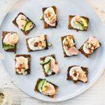 Roasted salmon rye toasts