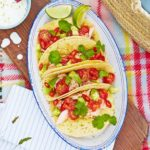 Salmon tacos with lime dressing