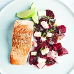 Salmon with beetroot, feta & lime salsa