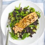 Honey mustard grilled salmon with Puy lentils