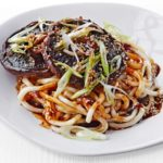 Saucy miso mushrooms with udon noodles