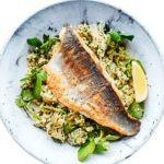 Sea bass & artichoke salad