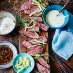 Seared sirloin with Japanese dips
