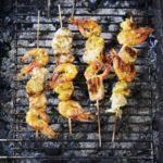 Seafood, pineapple & coconut kebabs
