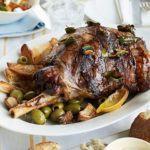 Slow-cooked Greek Easter lamb with lemons, olives & bay
