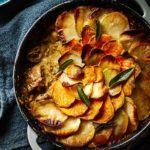 Slow-cooked pork, cider & sage hotpot