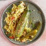 Slow-roasted courgettes with fennel & orzo
