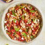 Smoky aubergine & red pepper salad