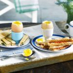 Soft-boiled eggs with chorizo soldiers