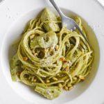 Spaghetti with artichokes & pesto
