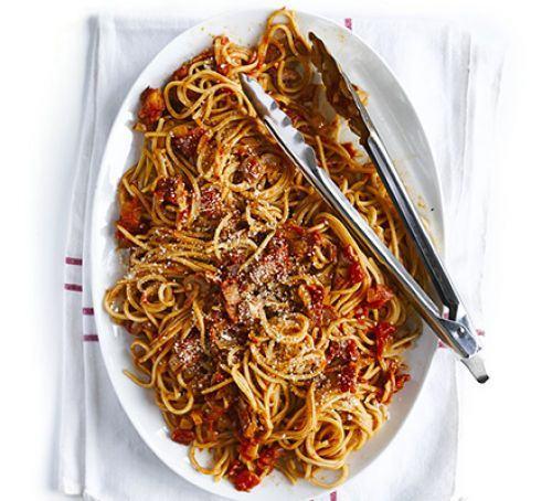 Super smoky bacon & tomato spaghetti Recipe