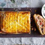Spiced salmon coulibiac