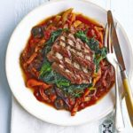 Seared steak with celery & pepper caponata