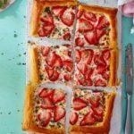 Strawberry, feta & thyme tart