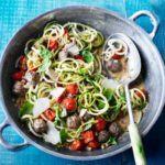 Summer courgetti & meatballs