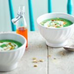 Supergreen soup with yogurt & pine nuts
