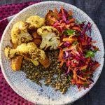 Sweet potato & cauliflower lentil bowl