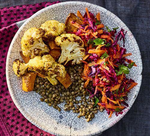 Sweet potato & cauliflower lentil bowl Recipe