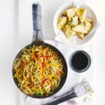 Sesame-crusted tofu with gingery noodles