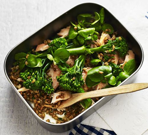Trout & spelt salad with watercress