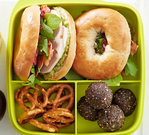Turkey, bacon & avocado mini bagels