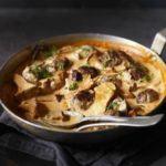 Venison meatball & wild mushroom stroganoff