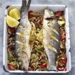 Fish parcels with romesco sauce & veg